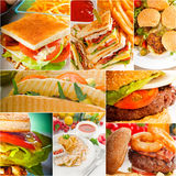 Burgers and sandwiches collection on a collage Stock Photography