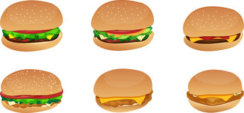 Burgers and Sandwiches Stock Photography