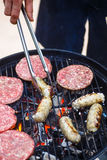 Burgers and sausages for hot dogs Royalty Free Stock Photography