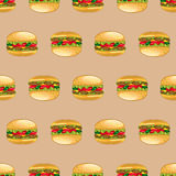 Burgers seamless pattern. Burger with juicy beef, fresh lettuce, tomatoes, cucumbers, cheese and ketchup. Vector illustration seamless pattern, of a delicious Royalty Free Stock Photo