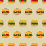 Burgers seamless pattern. Burger with juicy beef, fresh lettuce, tomatoes, cucumbers, cheese and ketchup. Vector illustration seamless pattern, of a delicious Stock Image