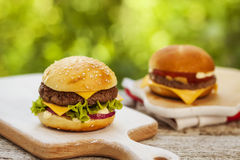 Burgers served outdoor Stock Photography