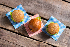 Burgers with sesame buns. Royalty Free Stock Photography