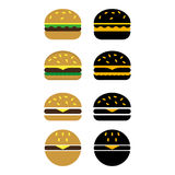 Burgers. A set of different burgers Stock Photos