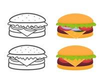 Burgers set Stock Photography