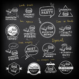 Burgers set of icons menu, vector illustration. Stock Image