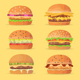 Burgers set. Ingredients buns, cheese, bacon, tomato, onion, lettuce, cucumbers. Vector eps 10 royalty free illustration