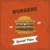 Burgers special price Royalty Free Stock Image