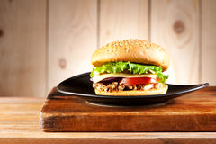 Burgers with turkey, cheese and vegetables Stock Images