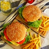 Burgers. Two homemade burgers Royalty Free Stock Image