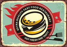 Burgers vintage tin sign. Fast food restaurant retro sign design with hot burger. Burger retro poster template. Food and drinks theme Stock Photos
