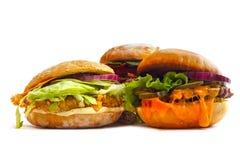 Burgers  on white Stock Photos