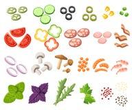 Burgersreeks De ingrediëntenbroodjes, kaas, bacon, tomaat, ui, sla, komkommers, groenten in het zuuruien, voert, ham op Vector il vector illustratie