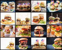 Burgerss collage Royalty Free Stock Photo