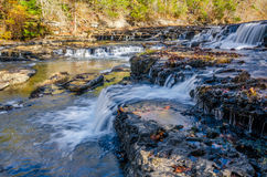 Burgess Falls State Park, Tennessee. Clear water cascades over rock shelves at Burgess Falls State Park in Tennessee Royalty Free Stock Photos
