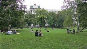 The Burggarten park in Vienna stock footage
