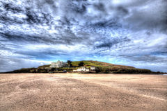 Burgh Island Devon England uk near Bigbury-on-sea on the south west coast path in bright vivid colourful HDR Royalty Free Stock Photo