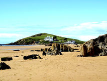 Burgh Island. Burgh Island at low tide taken from the beach at Bigbury on sea, South Devon, England, UK Stock Images