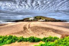 Burgh Island South Devon England uk near Bigbury-on-sea on the south west coast path in bright vivid colourful HDR Royalty Free Stock Image