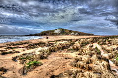 Burgh Island South Devon England uk near Bigbury-on-sea on the south west coast path in bright vivid colourful HDR Royalty Free Stock Photography