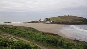 Burgh Island South Devon England UK near seaside village of Bigbury-on-Sea and Challaborough PAN stock footage