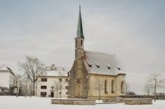 Burghausen城堡的,德国一点教会 免版税库存照片