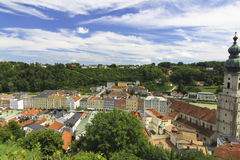 Burghausen and the border with Austria, the Salzach Stock Images