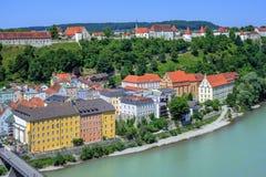 Burghausen kasztel na Salzach rzece i miasteczko, Niemcy Zdjęcia Royalty Free
