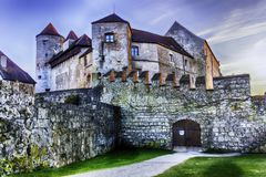 Burghausen and old castle, the Salzach. River. Germany Stock Image