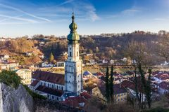 Burghausen and old castle, the Salzach. River. Germany Stock Photos