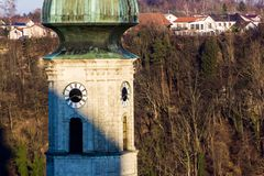Burghausen and old castle, the Salzach. River. Germany Stock Photography