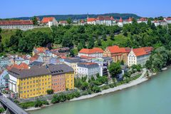 Burghausen town and castle on Salzach river, Germany Royalty Free Stock Photos