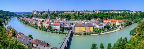 Burghausen town and castle on Salzach river, Germany. Panorama of Burghausen Old town and castle on Salzach river, austrian border, Germany. Burghausen Castle is Royalty Free Stock Photos
