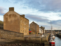 Burghead boats at the quay. This is the fishing boats tied up at the quay of Burghead Harbour, Moray, Scotland, United Kingdom Royalty Free Stock Photos