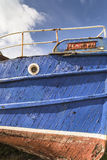 Burghead fishing boat detail in Scotland. Stock Photos