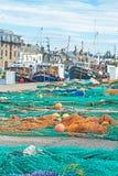 Burghead-Hafen mit Fischerbooten Stockfotografie