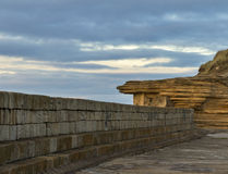 Burghead pier wall. Stock Photo