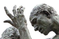 Burgher di Rodins della statua di Calais - particolari Immagini Stock Libere da Diritti
