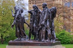 Burghers of Calais, London, UK. The Burghers of Calais (Les Bourgeois de Calais), one of the most famous sculptures by Auguste Rodin. Victoria Tower Gardens Stock Images