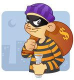 Burglar. People occupation illustration - burglar in action Royalty Free Stock Image