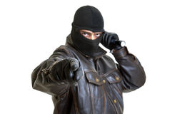 Burglar. With flashlight isolated in white royalty free stock images