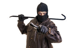Burglar. With flashlight and crowbar isolated in white Royalty Free Stock Photo