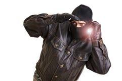 Burglar. With flashlight isolated in white stock photo