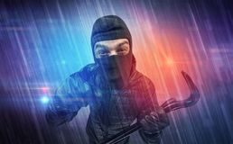 Burglar in action. Stock Images