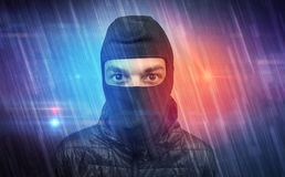 Burglar in action. stock photo