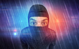 Burglar in action. Royalty Free Stock Images