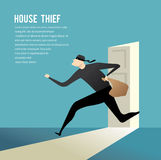 Burglar break into a house. Simple cartoon of a burglar break into a house in flat stele. Vector illustration Stock Photo