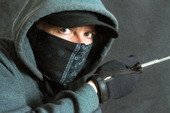 Burglar Breaking In, Left Side Stock Photo