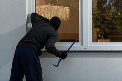 Burglar before burglary into the house. Horizontal royalty free stock photography