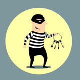 Burglar carrying a bunch of keys. Burglar dressed in a mask and striped clothes carrying a bunch of keys inside a yellow circular icon, flat style Stock Photography